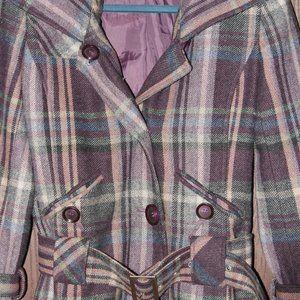 Moda International Women's plaid pea coat